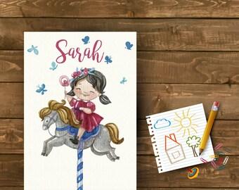 Girl on Pony Personalised Print