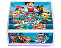 """7.5"""" HD Paw Patrol cake topper - Edible Square cake topper -Personalized or Non Personalized- with FREE Banner on Rice paper or frosting"""
