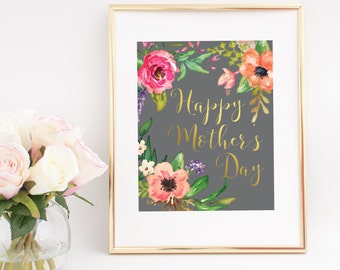 Happy Mother's Day Digital Print, Mother's Day Print, Floral Print, Home Decor, Wall Decor, Art Print, Digital Download