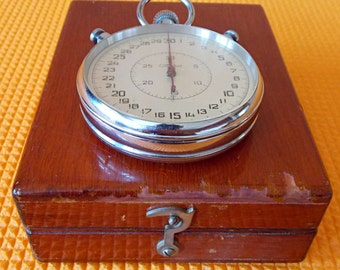 Rare big professional stopwatch SLAVA USSR. Vintage Soviet chronometer.