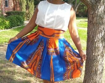 Dashiki Midi skirt, African wax, African print midi skirt,  African clothing, Midi skirt, ankara short skirt, high waist skirt, short skirt