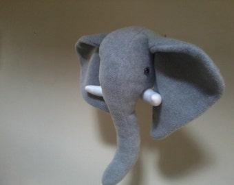 Grey fleece elephant head