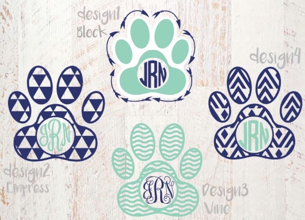 Paw Prints Monogram Svg: Paw Print Monogram Decal Paw Print Decal Aztec By
