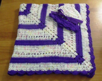 NEW Handmade Crochet Baby Blanket and Hat/Beanie Set - Colors Purple & Pastel Variegated - A Wonderful Baby Shower Gift!! - SEE NOTE!