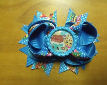 "Shopkins Handmade Boutique Layered Hair Bow 4.5"" Blue & White Polka Dot Rainbow Color - Girls - Alligator Hair Clip"