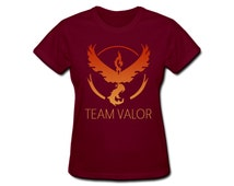 Team Valor Pokemon Go Women's T-Shirt Nintendo Pikachu Pokeball Gamer Moltres Tee