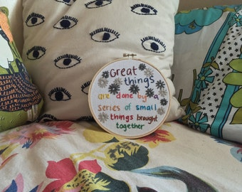 Van Gogh Quote Floral Embroidery