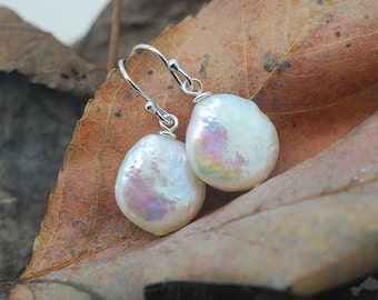 White Freshwater Free Form Button Pearls,925 Sterling Silver Hook Earrings E523