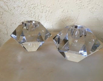 Brilliant Faceted Pair of Candle Holders Prism Candlestick Holders Hollywood Regency Heavy Glass