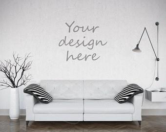 Empty wall mockup, Styled stock, Mock ups, Photography mockup, Wall stickers, Living room, Wall decor, Digital product mockup, Wall decal