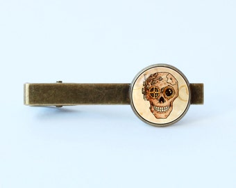 Skull tie clip Steampunk skull tie clip Men gift Steampunk gift Skull tie bar Skull jewelry Steampunk jewelry Human skull Sci Fi tie clip