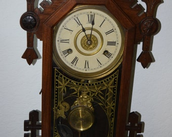 Antique 1881 S&F MCH New Haven Gingerbread Alarm Clock / Works Good!!!