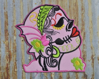 Glam Pink Flapper Girl Skull Day Of The Dead Rockabilly Mexican Heart Iron On Sew On Patch Transfer