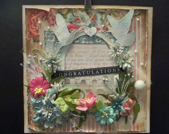 hand made shabby chic card topper