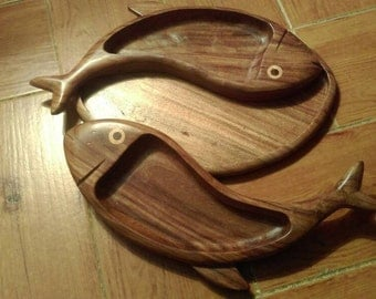 Double Wood Fish Plate - Snacks - Sweets - Nuts (Free Shipping)