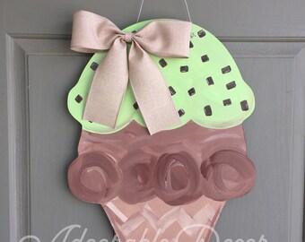 Mint Chocolate Chip Ice Cream Door Hanger