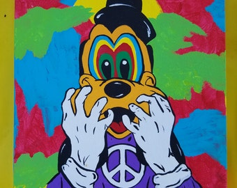 Goofy, psychedelic, peace, love, canvas painting