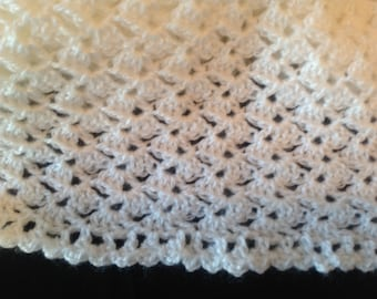 Fuzzy and coziest hand crocheted afghan/lightweight/baby gift/christening gift
