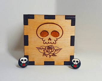 Painted Skull Earrings With Customized Storage Box