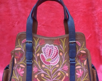 Leather Embroidered Floral Purse