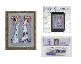 MIRABILIA Cross Stitch PATTERN & EMBELLISHMENT Pack The Garden Party MD140