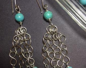 Infinity Earrings with Magnesite Gemstones