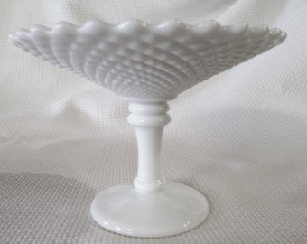 Vintage Round Hobnail Milk Glass dish with Pedestal, Made by Westmoreland, Milk Glass