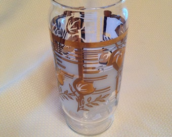 Large Mid-Century Gold Leaf Frosted Libbey Glass or Vase