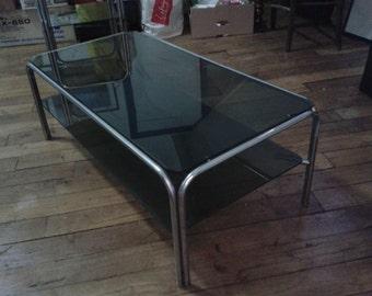 coffee table, metal and smoked glass, original 80s