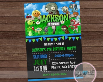 Plants vs Zombies Invitation, Plants vs Zombies Birthday Party Invitation, Plants vs Zombies Chalkboard Invitation, Digital File.
