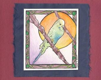 Original Hand Painted Watercolor Greeting Card - Parakeet