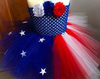 FOURTH OF JULY Tutu Dress; Patriotic American Flag Tulle Dress