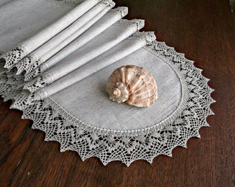 72 Long Linen Table Runner Lace dresser scarf Natural Light Grey tablecloth Housewarming gift Rustic table runner Wedding