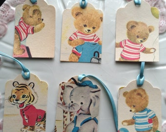 Handmade Gift Tag/Favor Tag set of six- color illustrations from vintage children's book/baby shower tags