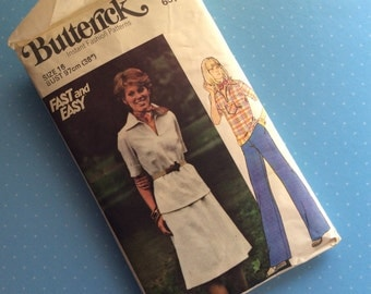 Vintage Sewing Pattern - Butterick 4695 - Retro 1970 Dressmaking Pattern - Blouse Skirt Trousers Sewing Pattern - Size 16 Bust 97 cm Sewing