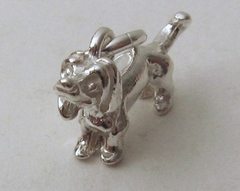 Genuine SOLID 925 STERLING SILVER 3D Dachshund Dog charm/pendant