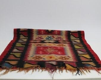 Antique mini hand made fabric rug-Bulgarian Chiprovski rug