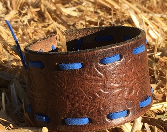 OOAK Blue Leather Laced Upcycled Stamped Leather Belt Cuff
