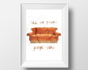 Art Print Couch FRIENDS tv show,printable art, friends theme ,monica,chandler, ross,phoebe, rachel,joey,central perk,friends poster