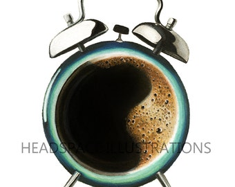 Coffee Time Clock Cup Colored Pencil Art Print by Headspace Illustrations