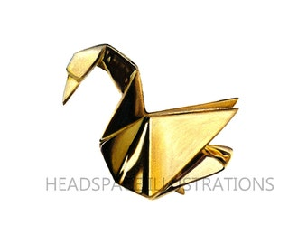 Gold Crane Bird Swan Origami Drawing - Colored Pencil Art Print by Headspace Illustrations