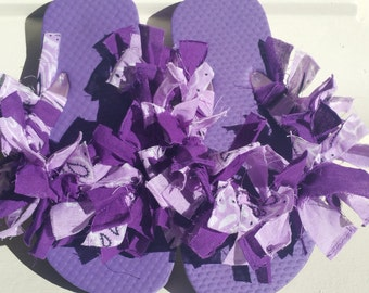 Girls Purple Scarf Ribbon Handkerchief Flip Flops Sandals