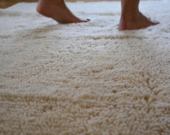 Large Shaggy Wool Rug- Hand woven rug - made from 100% organic wool - eco-friendly, soft and warm - ready to ship!