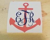 Anchor Monogram decal; monogram decal; anchor decal