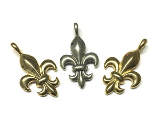 Fleur De Lis Charm, Fleur-De-Lis Pendant, Fleur-De-Lis Charm, Sterling Silver or Gold Plated over Sterling Silver Single Bail By Piece