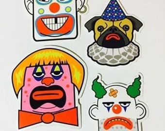 Pretty Normal Clowns Sticker Pack 1 (2x3 and 3x3 inch)
