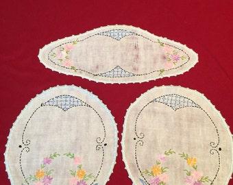 Set of 3 vintage hand embroidered dresser scarves.