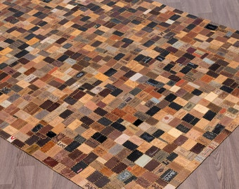 Up-cycled Handmade Jean Label Leather Rug