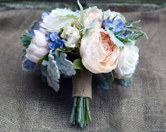 Wedding bouquet - peach and blue with dusty miller leaves, bridal bouquet / bridesmaid bouquets / wedding flowers