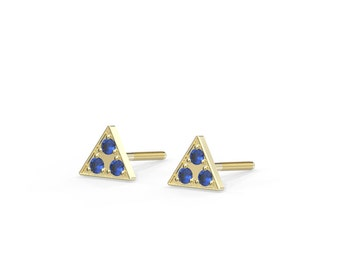 Natural Sapphire studs earrings | Solid 14k gold triangle stud earrings set with natural Sapphire 5mm 6mm 7mm | Screw back earrings| For her